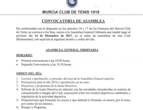 Convocatoria Asamblea Ordinaria de Socios del MCT 14/12/2017