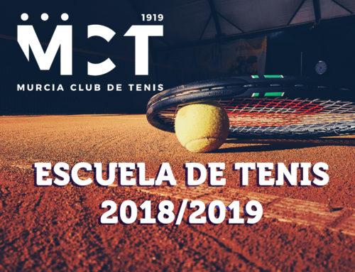 Escuela de Tenis 2018/2019: Abierto plazo de inscripción.