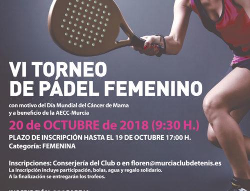 VI Torneo de Pádel Femenino AECC – 20 OCTUBRE – MCT1919