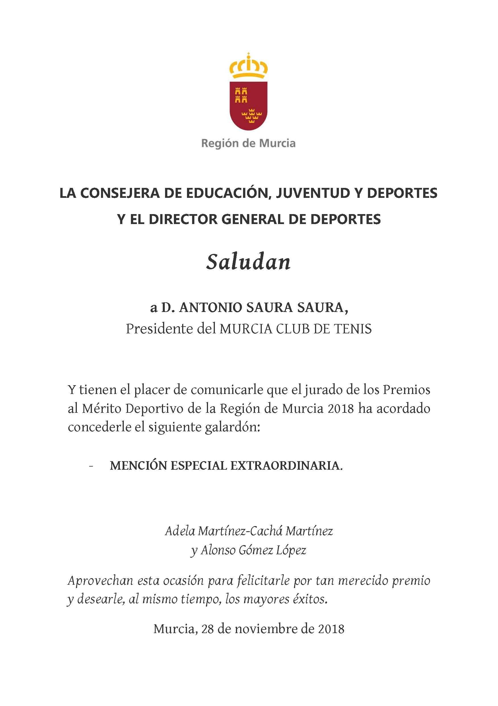 Felicitación MCT Mención Especial Extraordinaria Gala del Deporte 2018