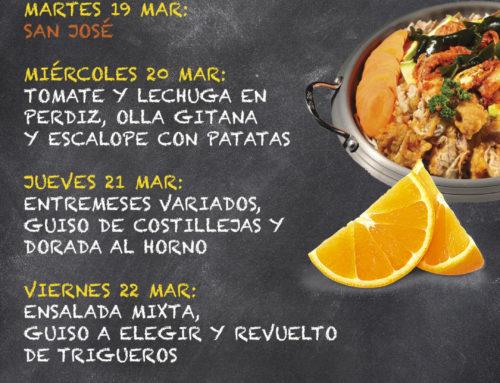 Menú Restaurante MCT1919 — Semana 18 al 22 de marzo