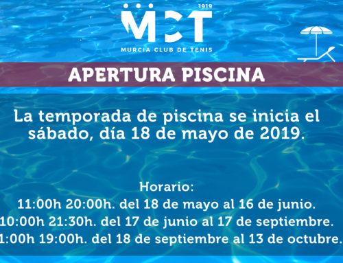 Apertura de la piscina – Verano 2019