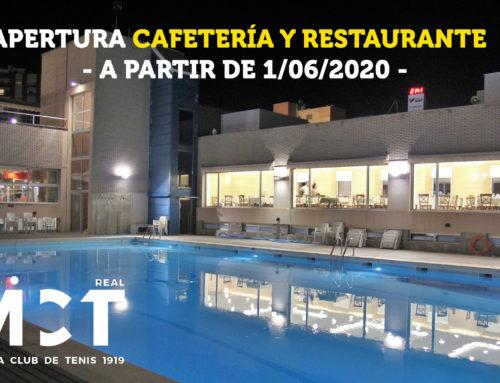 Apertura de Cafetería y Restaurante – a partir del 1/06/2020