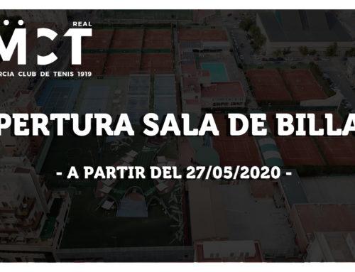 Apertura de la sala de billar – a partir del 27/05/2020