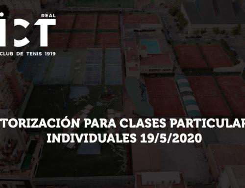 Autorización para Clases Particulares individuales – 19/5/2020 (Horarios)