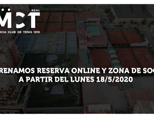 Estrenamos Reserva online y Área de Socio – A partir del lunes 18/5/2020