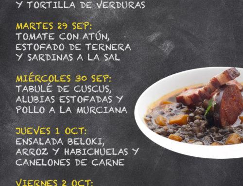 Menú Restaurante RMCT1919 — Semana del 28 de septiembre al 2 de octubre