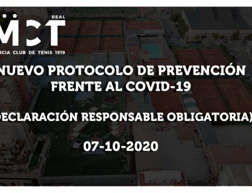 Nuevo Protocolo de Prevención Frente al COVID-19 (7-10-2020)