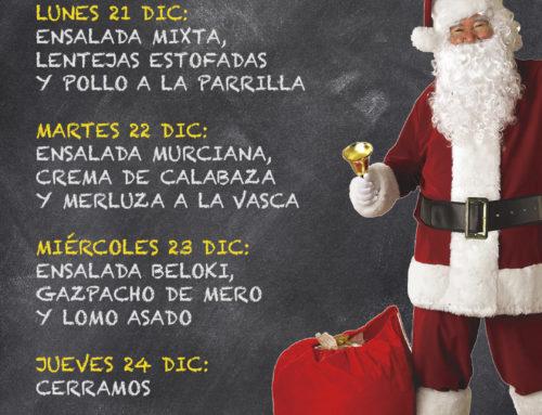 Menú Restaurante RMCT1919 — Semana del 21 al 25 de diciembre