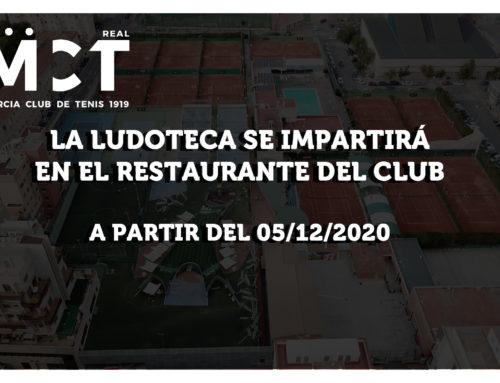 La ludoteca pasa a impartirse en el restaurante del club a partir del 05/12/2020