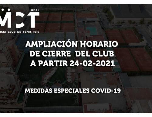 Ampliación Horario de Cierre del Club a partir del 24-02-2021