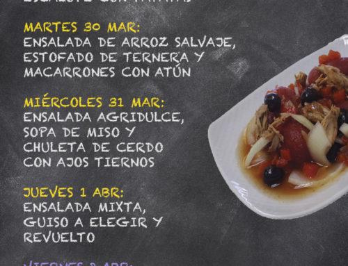 Menú Restaurante RMCT1919 — Semana del 29 de Marzo al 02 de Abril