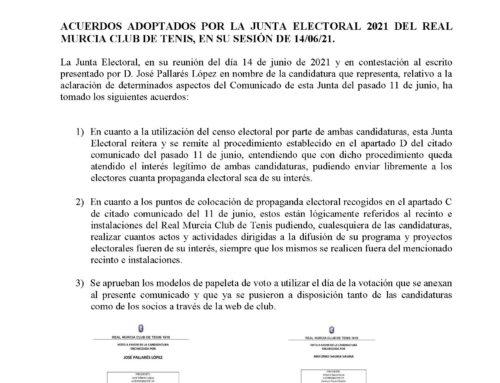 Comunicado Junta Electoral 2021 RMCT1919 — 14/6/2021