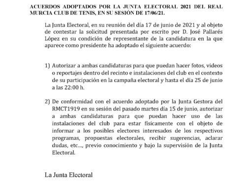 Comunicado Junta Electoral 2021 RMCT1919 — 17/6/2021