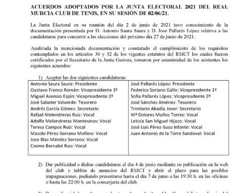 Comunicado Junta Electoral 2021 RMCT1919 — 4/6/2021
