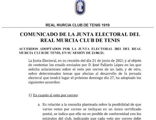 Comunicado Junta Electoral 2021 RMCT1919 — 22/6/2021
