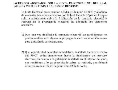 Comunicado Junta Electoral 2021 RMCT1919 — 25/6/2021