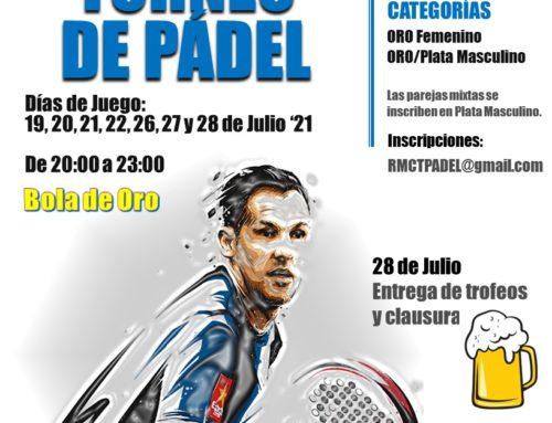 Torneo Pádel RMCT1919 – Julio 2021