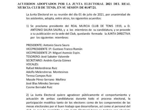 Comunicado Junta Electoral 2021 RMCT1919 — 01/07/2021
