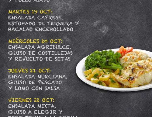 Menú Restaurante RMCT1919 — Semana del 18 al 22 de Octubre
